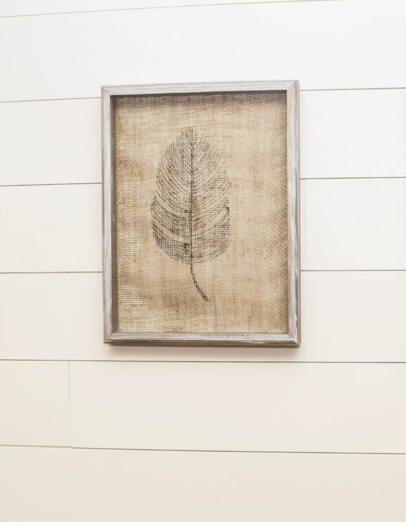 Framed Burlap Feather Art