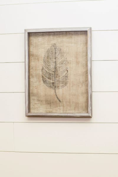 Burlap Feathers Wall Decor
