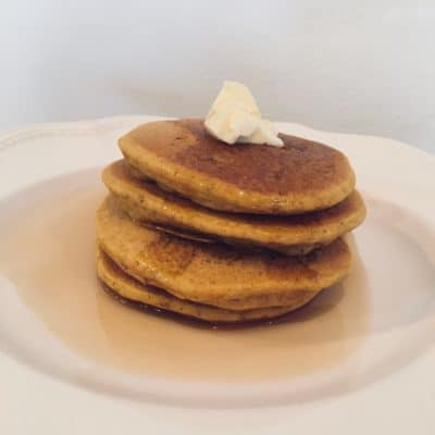 Gluten Free Pumpkin Pancakes with Spiced Pear