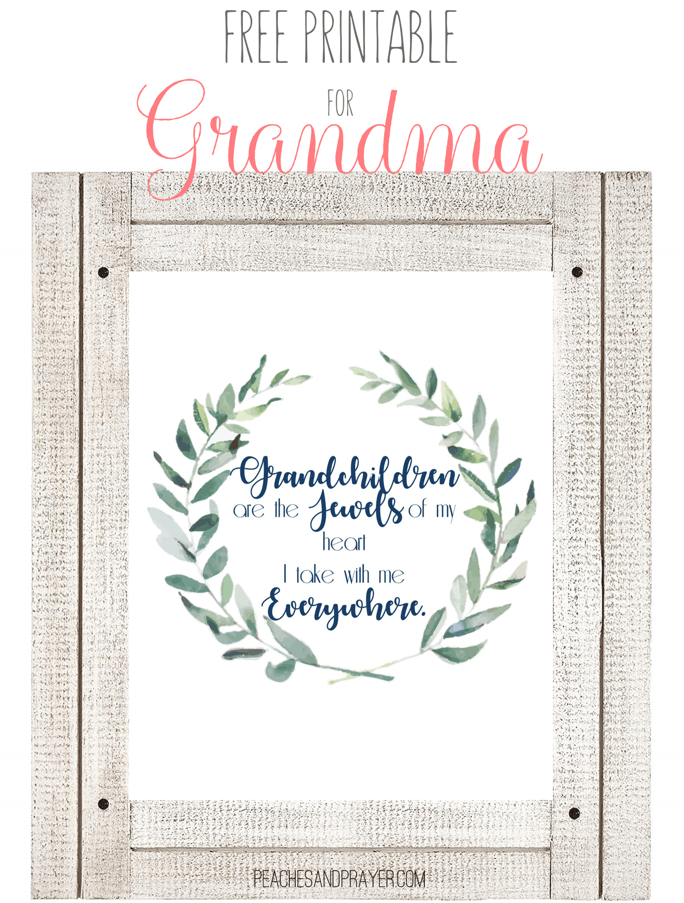 graphic regarding All About My Grandma Printable known as A Significant Present for Grandma - Peaches Prayer