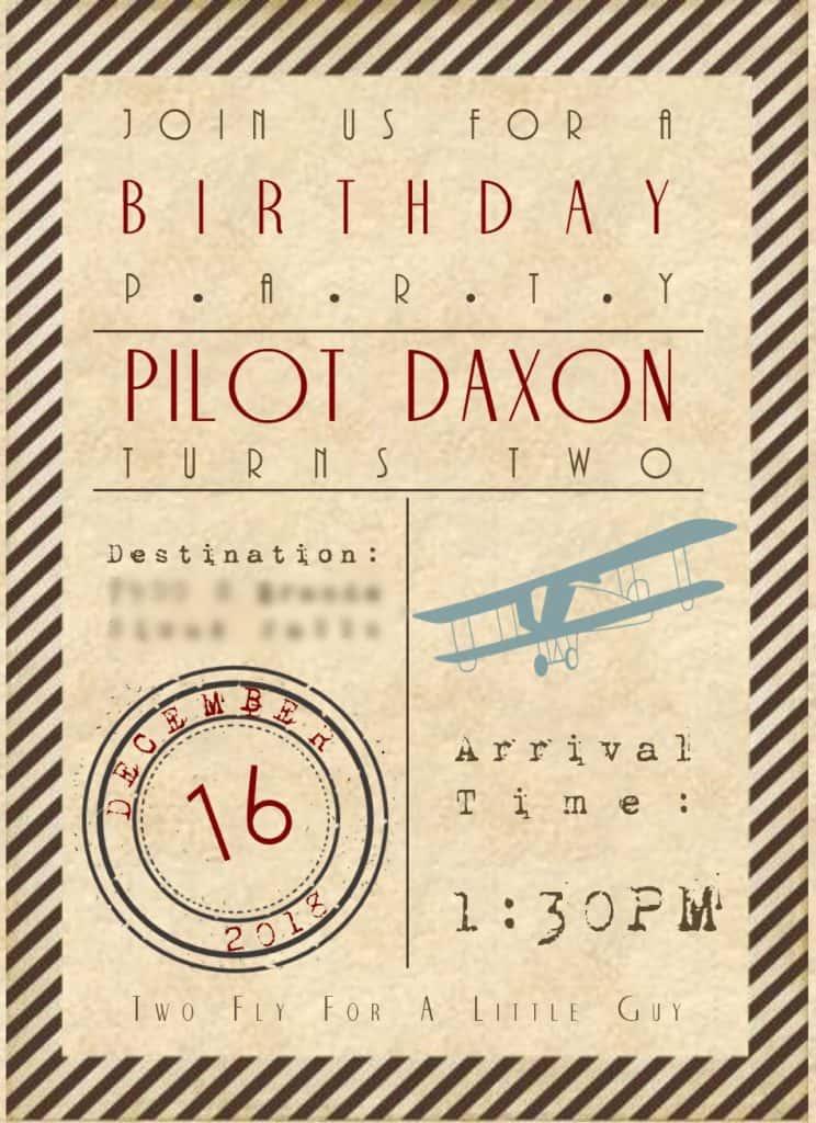 Aviation Birthday Party Invitation