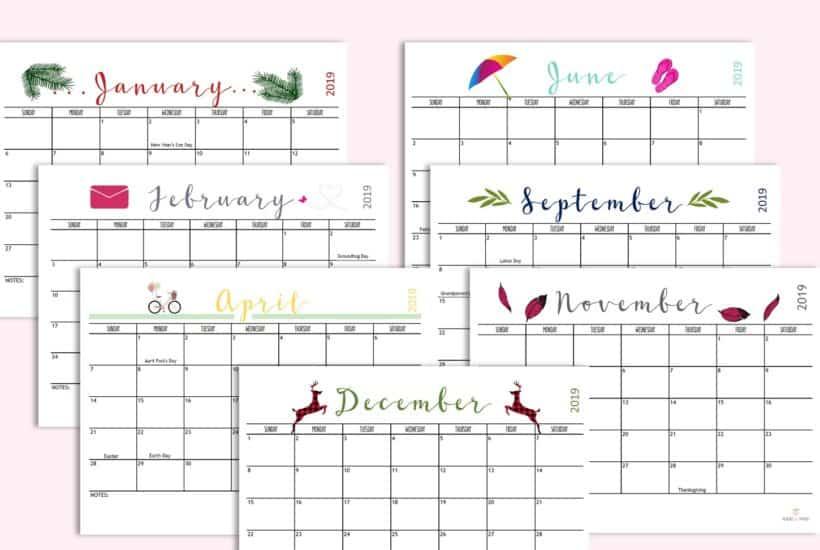Pinterest Free 2019 Calendar
