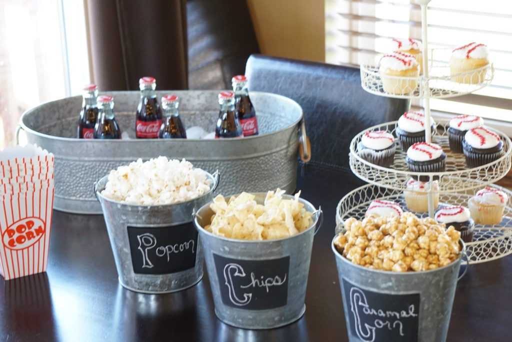 Baseball Themed Shower with personalized containers party planning guide
