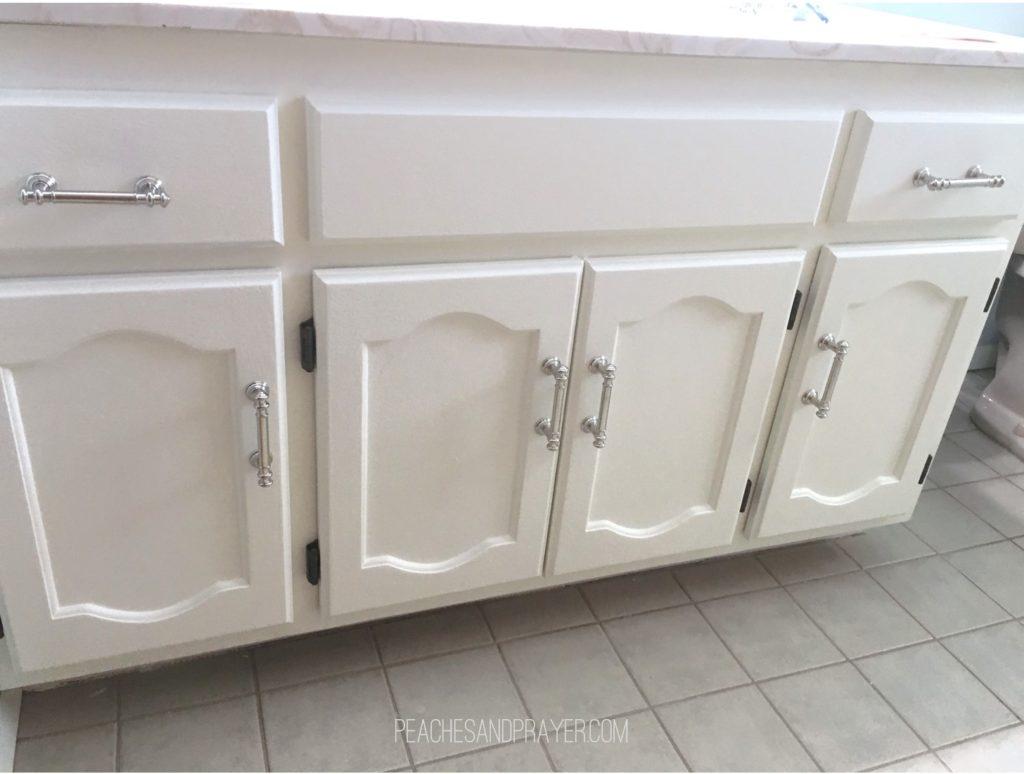 Updating a vanity adding cabinet pulls