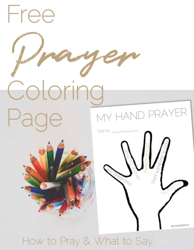 Free Prayer Coloring Sheet for teaching kids what to say in prayer