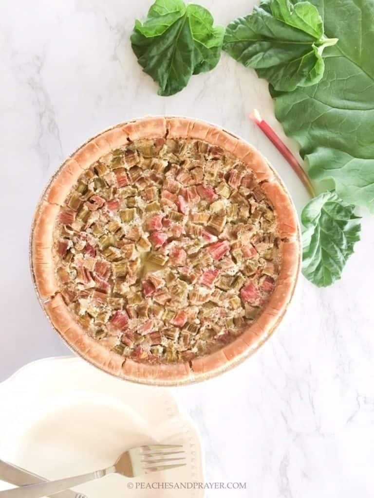 Gluten and Dairy Free Rhubarb Custard Pie