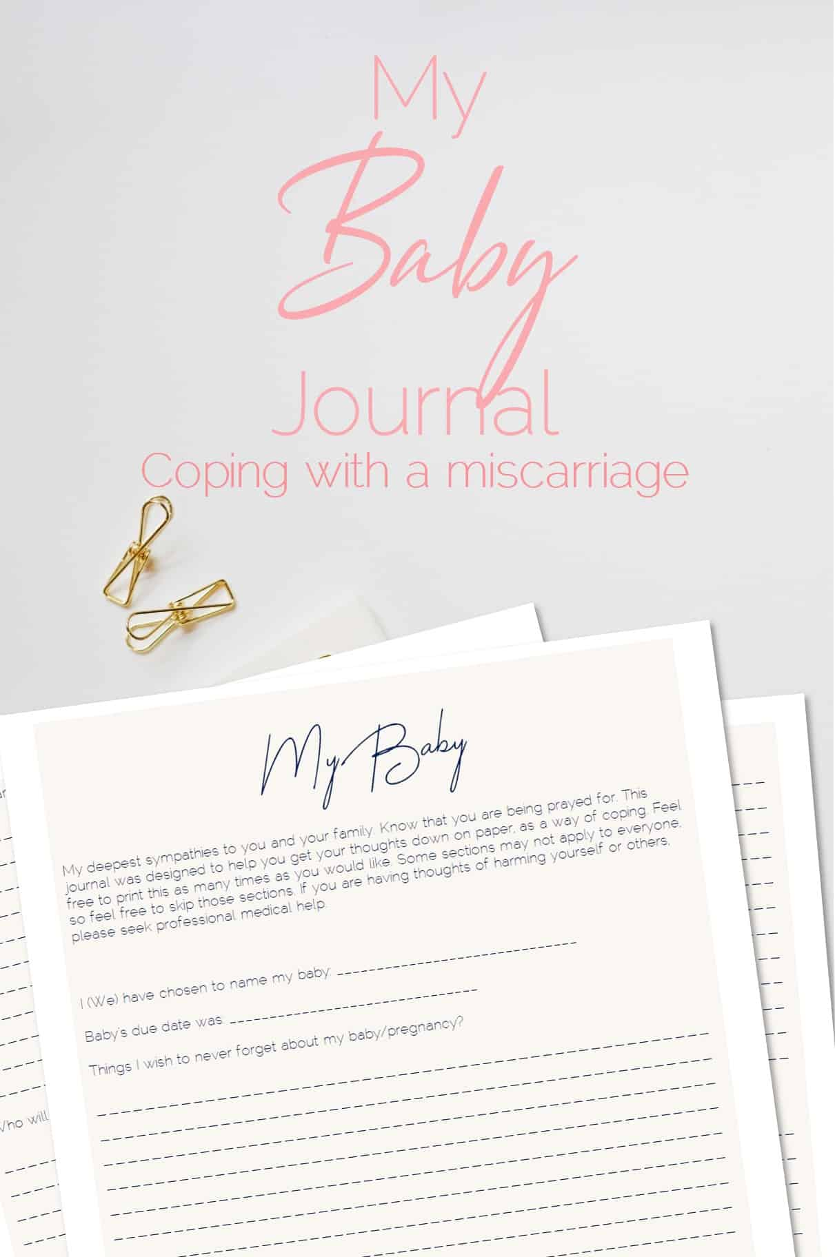 Coping with a miscarriage grief journal
