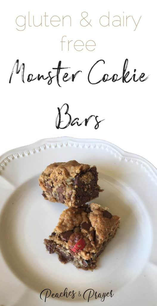Gluten and Dairy Free Monster Cookie Bars