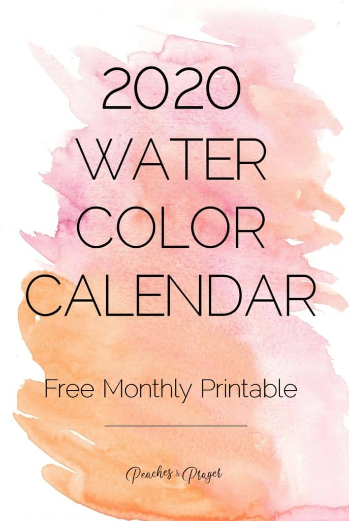 2020 Watercolor Calendar Monthly Printable