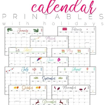 Free 2020 Monthly Calendar Printables {Two Options}