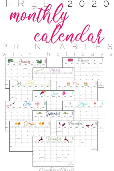 2020 monthly calendar printable free