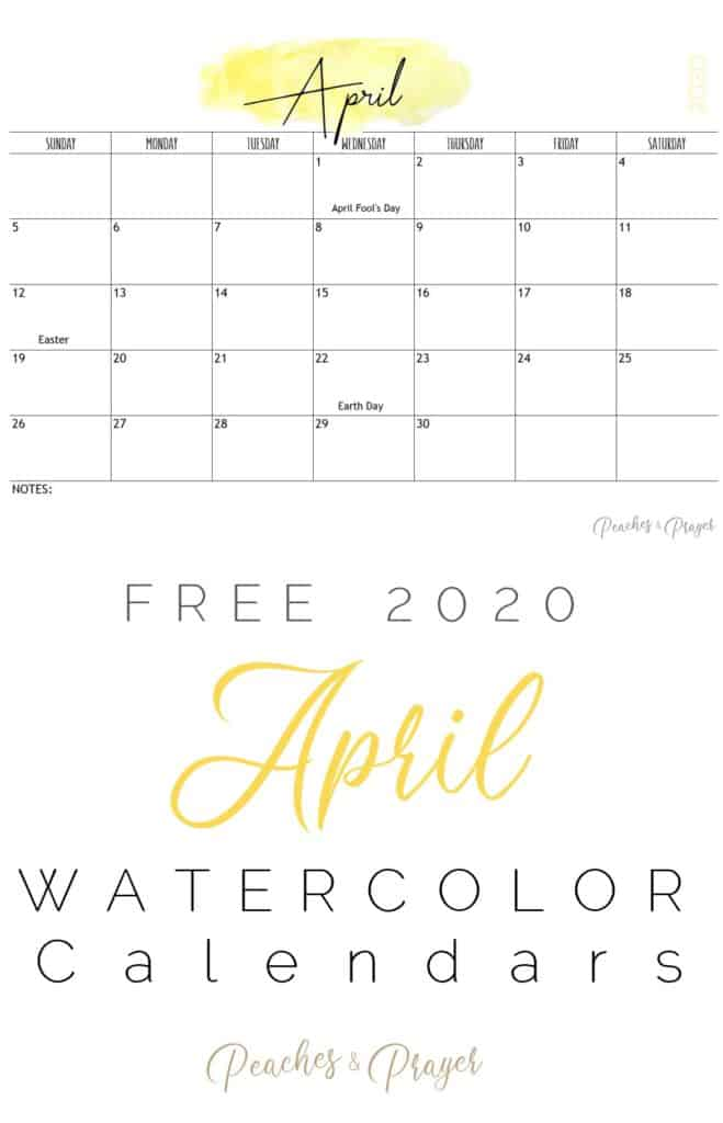 April 2020 Watercolor Calendars Free