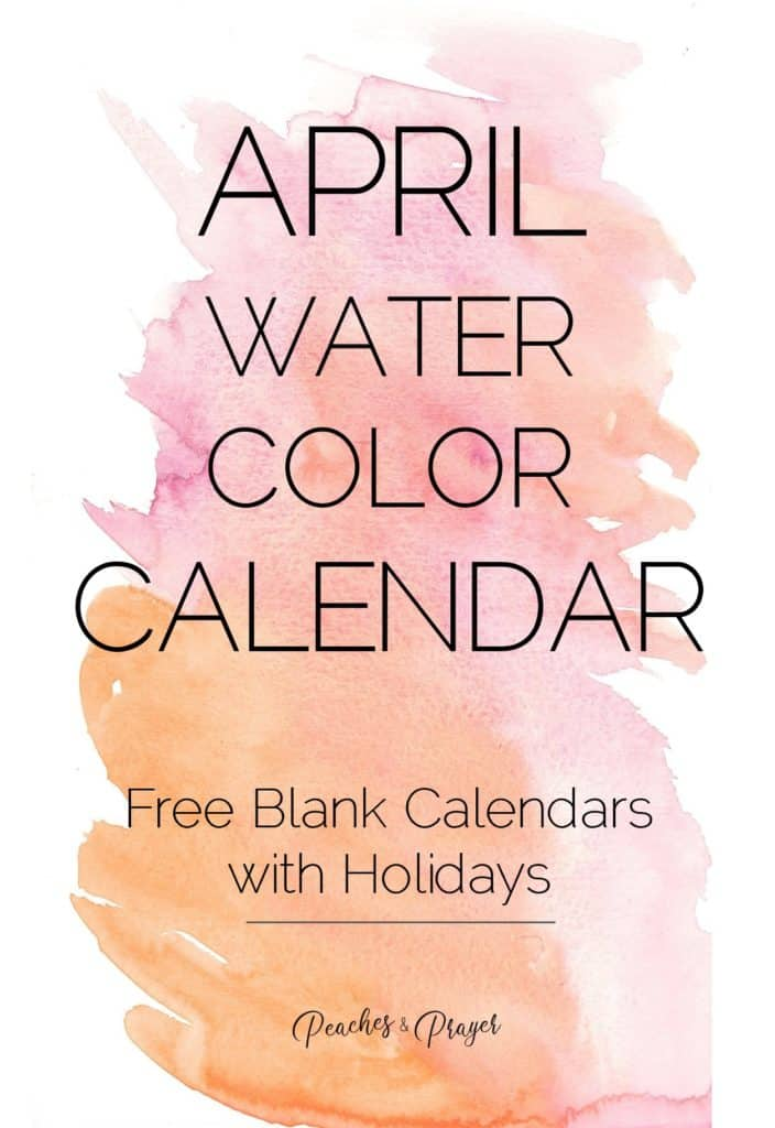 April Water Color Calendar with Holidays