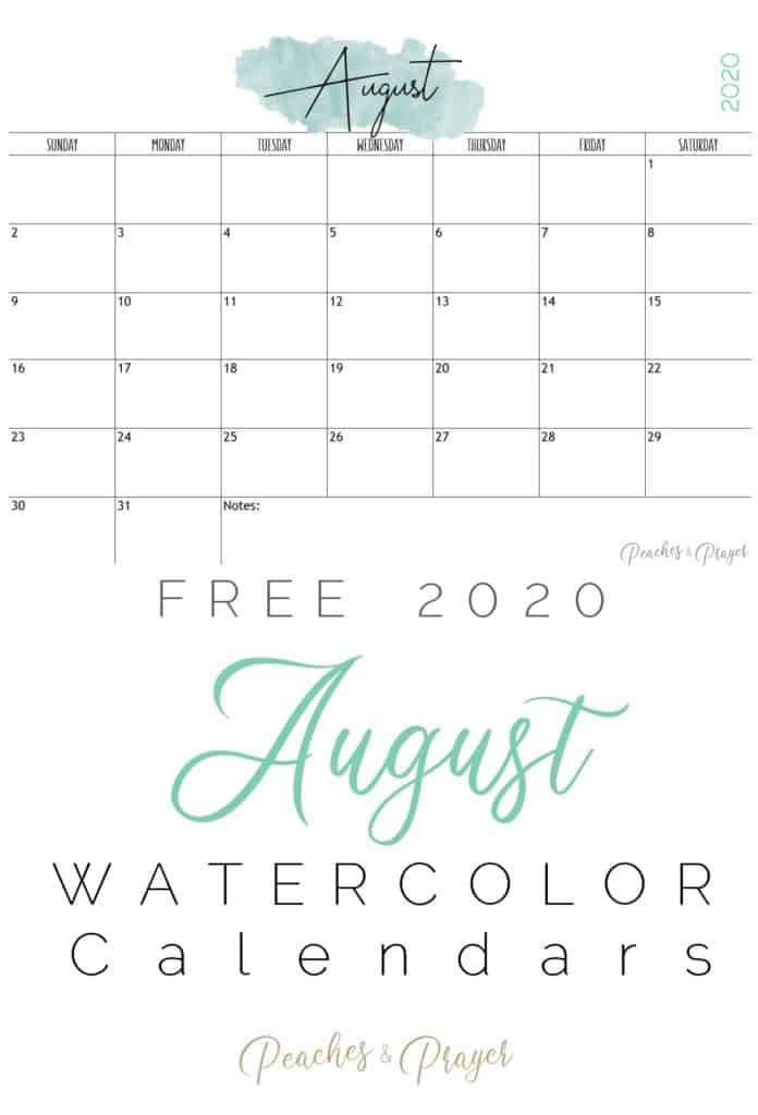 August 2020 Watercolor Calendar Printable