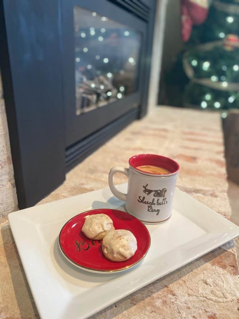 Cookies for Santa on Fireplace with Paleo Eggnog Recipe