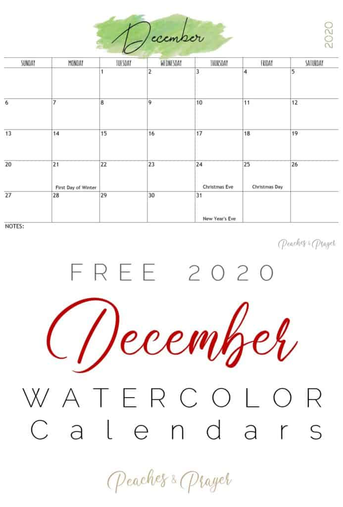 December 2020 Watercolor Printables