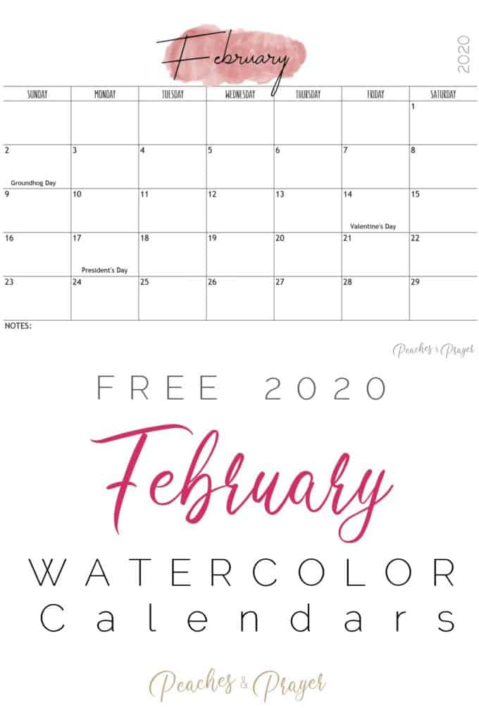 February 2020 Watercolor Calendars Free