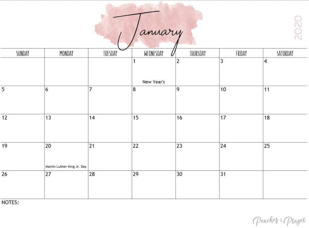 January 2020 Watercolor Monthly Calendar