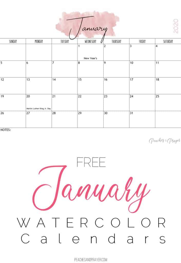 January 2020 Watercolor Calendar Printables