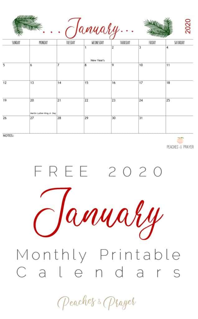 2020 January Free Monthly Calendar Downloads