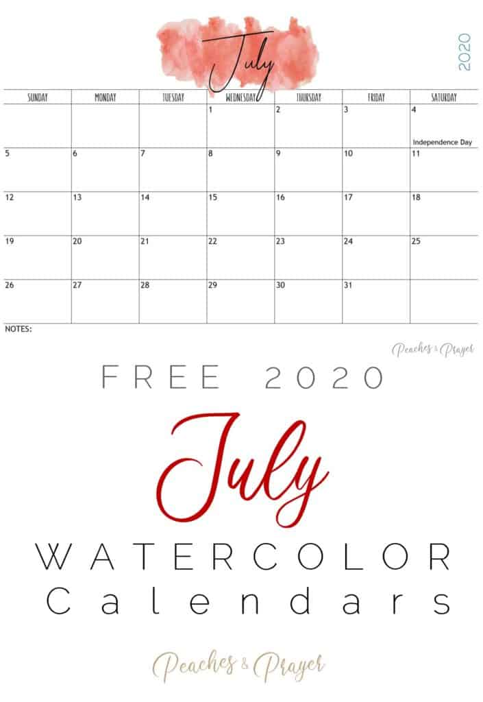 July 2020 Watercolor Calendar Printable