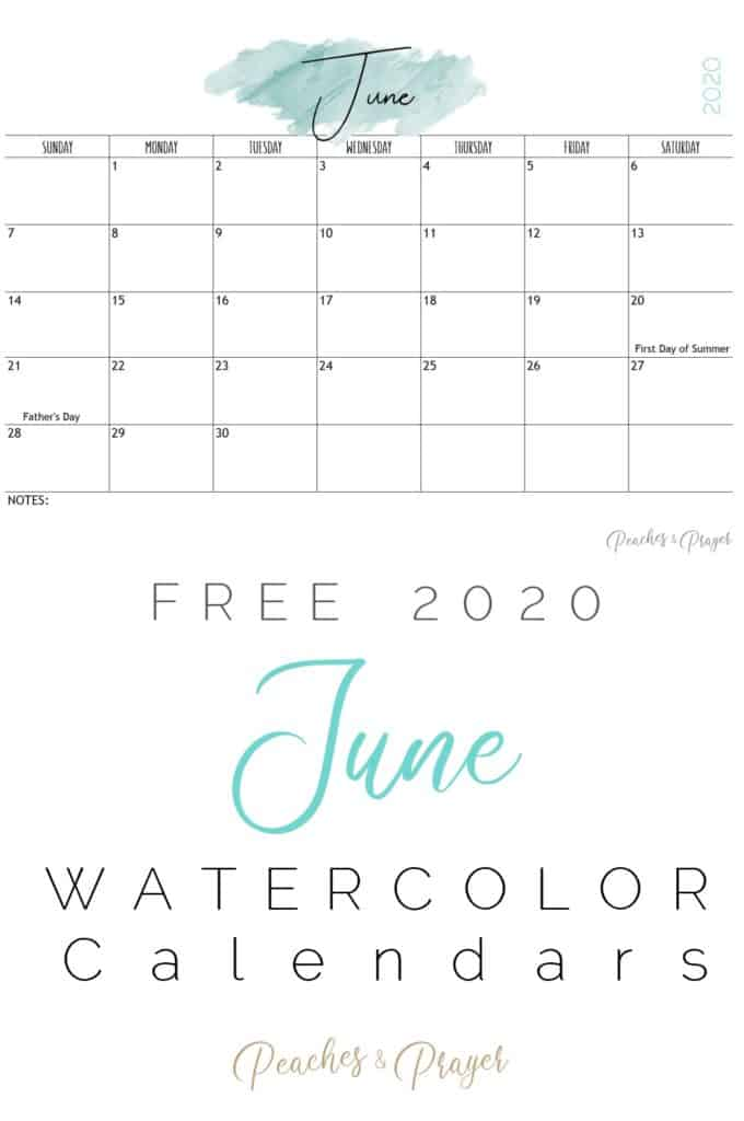 June 2020 Watercolor Calendar Printables