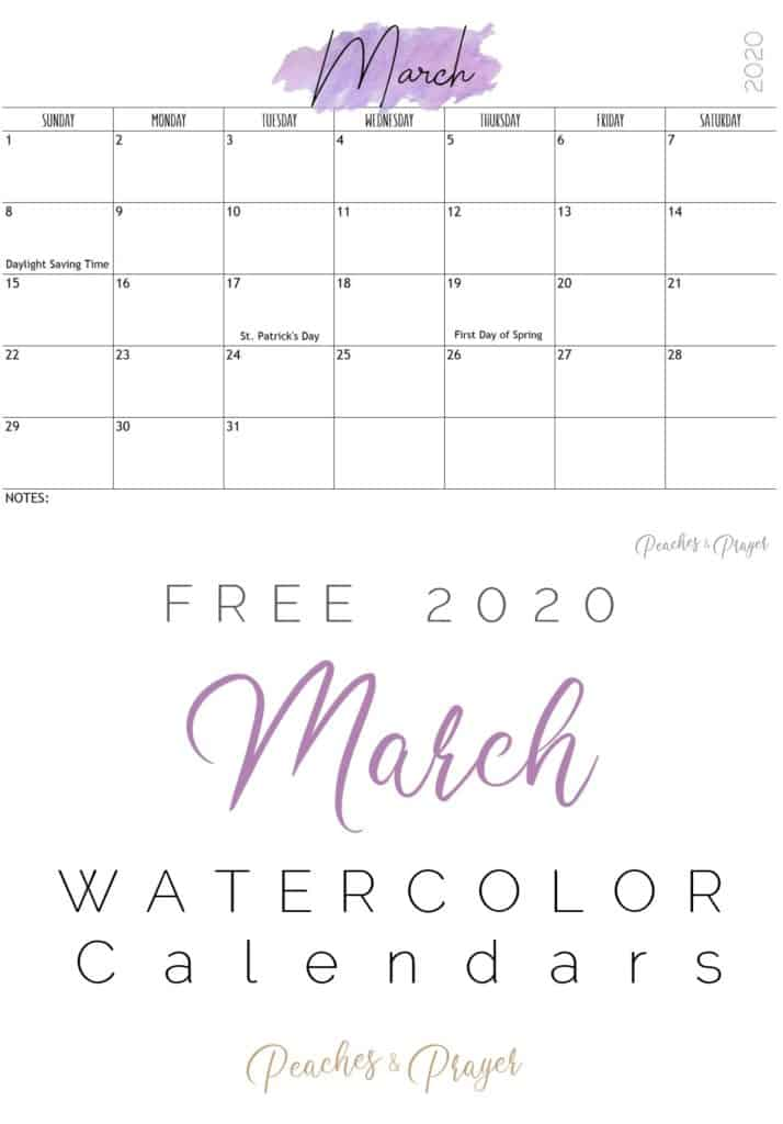 March 2020 Watercolor Calendars Free
