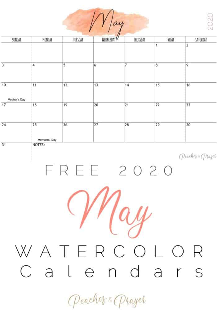 May 2020 Watercolor Calendars Free