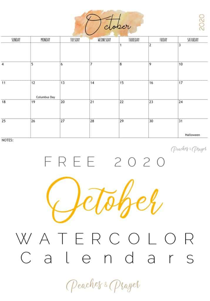October 2020 Watercolor Calendar Printables