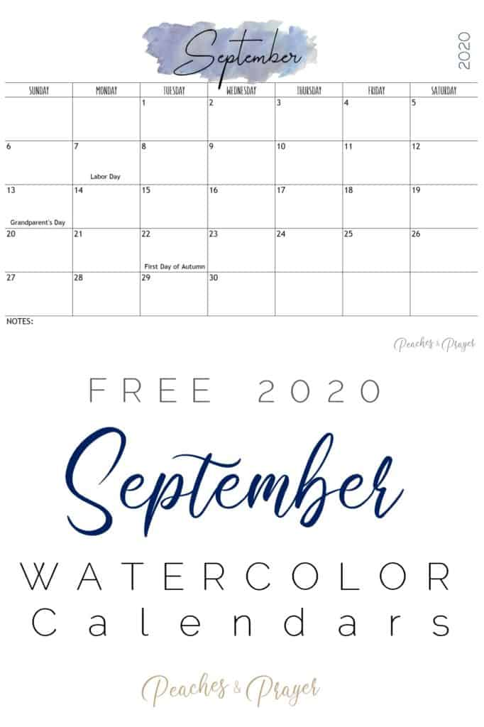 September 2020 Watercolor Calendar Printable