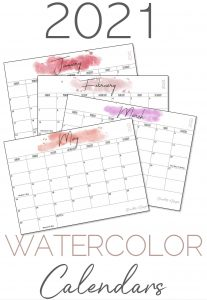 2021 Watercolor Calendars