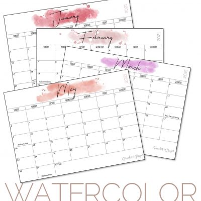 Free 2021 Monthly Calendar Printables {Three Options}
