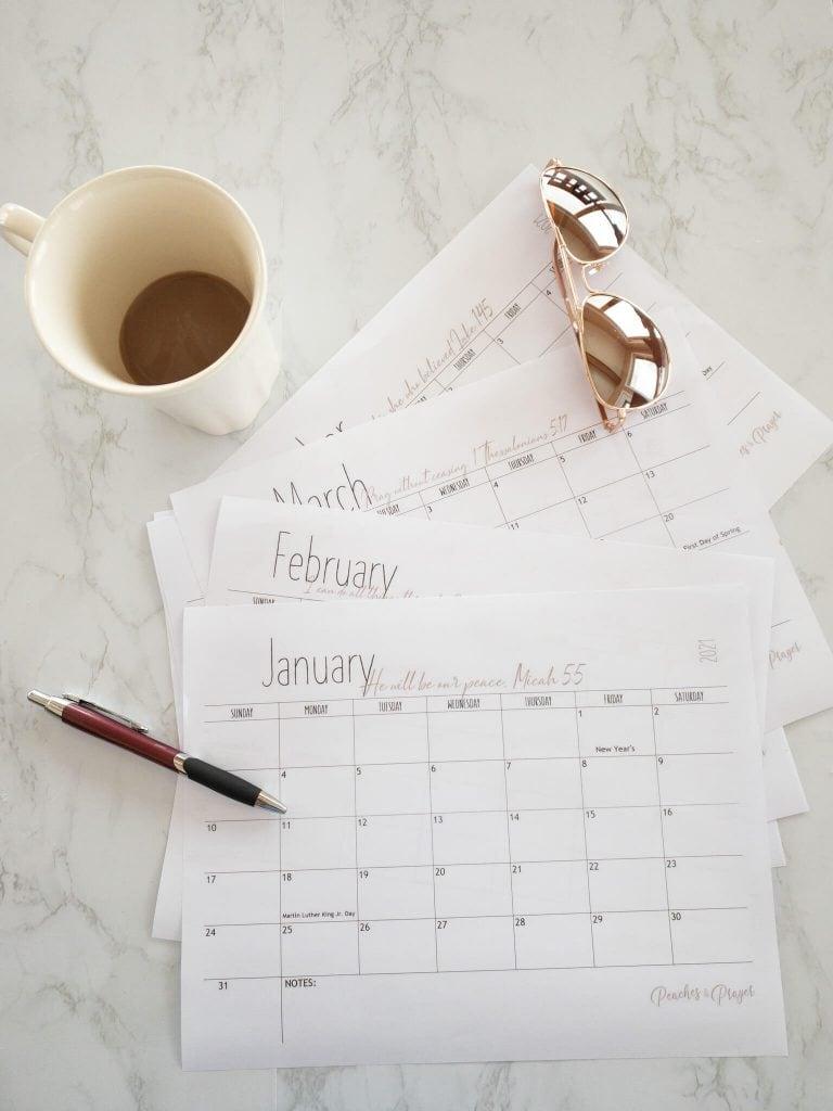 Bible Verse Calendars for 2021