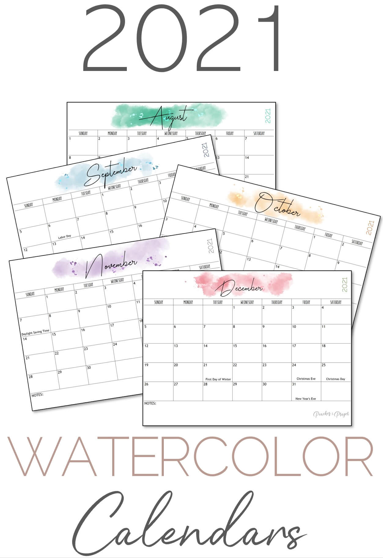 Pretty Watercolor Calendars 2021