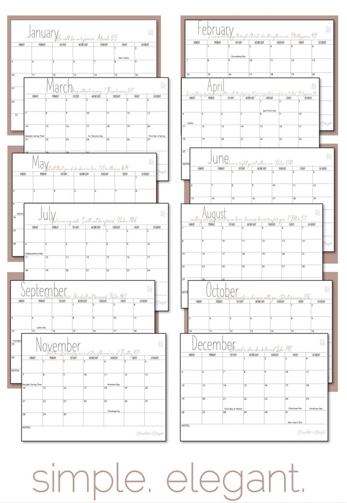 Simple Elegant all bible verse calendars