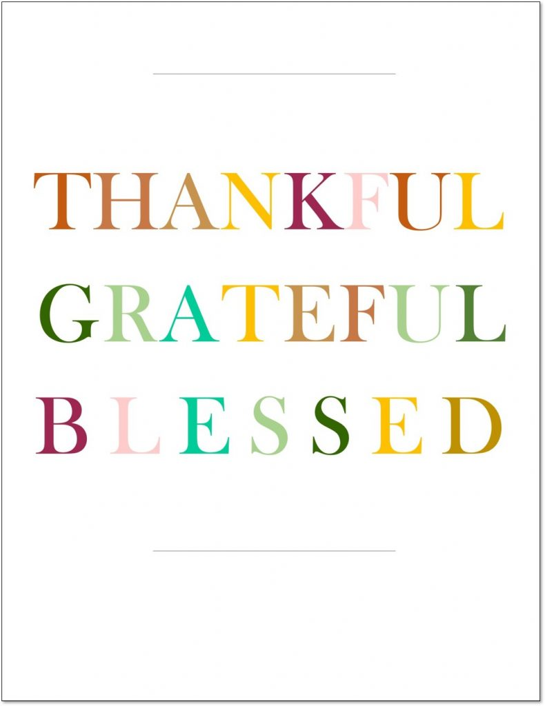 Thankful Grateful Blessed Printable