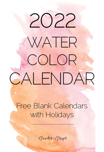 2022 Free Monthly Calendar Printable