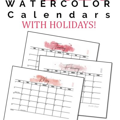 Free 2022 Monthly Calendar Printables {Two Options}