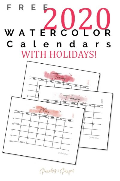 2022 Watercolor Calendar with Holidays and Blank space